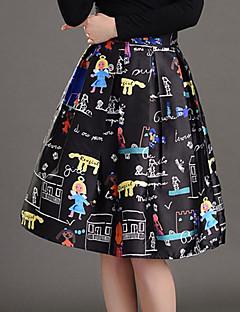 Mulheres Saias Altura dos Joelhos Moda de Rua Poliéster Micro-Elástica Mulheres