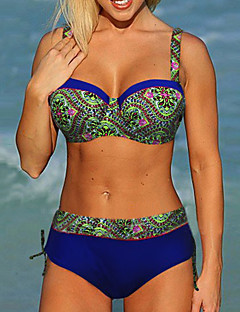 Women's High Waist Padded Push Up Underwire Sexy Floral Print Bikini