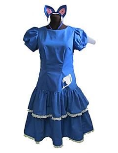 Inspiriert von Fairy Tail Cosplay Anime Cosplay Kostüme Cosplay Kostüme / Kleider Patchwork Blau Kurze Ärmel Kleid / Stirnband