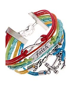 Mulheres Enrole Pulseiras Original Multi Camadas Trançado bijuterias Pele Liga Amor Âncora Jóias Para Festa Diário Casual Presentes de