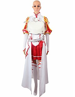 Inspired by Sword Art Online Asuna Yuuki Anime Cosplay Costumes Cosplay Suits Solid White / Red Long Sleeve Cloak / Shirt / Skirt / Tie