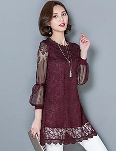 Mulheres Blusa Casual Vintage / Moda de Rua Primavera,Sólido Vermelho / Branco / Preto Algodão / Poliéster Assimétrico Manga Longa Fina