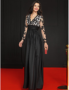 Formal Evening Dress A-line V-neck Floor-length Lace / Taffeta with Appliques