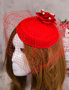 Flower Feather Veil Fascinator Hat Hair Jewelry for Wedding Party