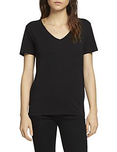 여성의 솔리드 V 넥 짧은 소매 티셔츠,심플 캐쥬얼/데일리 블루 / 레드 / 화이트 / 블랙 면 여름 얇음