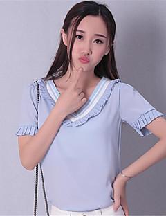 여성의 컬러 블럭 V 넥 짧은 소매 티셔츠,섹시 / 스트리트 쉬크 캐쥬얼/데일리 블루 / 핑크 나일론 여름 중간