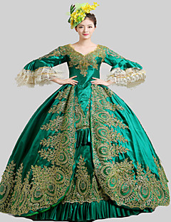 One-Piece Gothic Lolita Steampunk® / Rococo 18th Century Marie Party Lolita Dress Cosplay Green Vintage Long Length Dress / Hat / Petticoat For Women