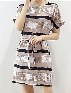 Women's Sexy / Simple Striped A Line Dress,V Neck Mini Polyester