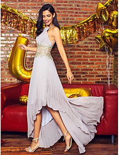 TS Couture® Formal Evening Dress - Silver A-line Jewel Asymmetrical Chiffon