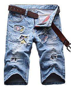 Men's Summer Casual Light Blue Patch Holes Ripped Denim Jeans Shorts
