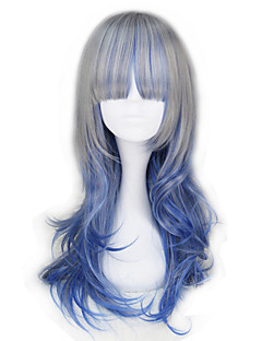 Lolita Wigs Gothic Lolita Color Gradient Medium Blue / Gray Lolita Wig 55 CM Cosplay Wigs Patchwork Wig For Women