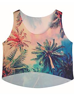Mulheres Camiseta Casual Fofo / Moda de Rua Verão,Estampado Bege Náilon / Elastano Decote Redondo Manga Curta Média