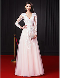 TS Couture® Formal Evening Dress A-line V-neck Floor-length Chiffon / Tulle with Appliques / Lace