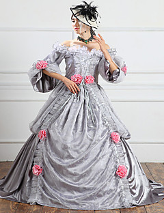 One-Piece/Dress Gothic Lolita Steampunk® / Victorian Cosplay Lolita Dress Gray Solid 3/4-Length Sleeve Long Length Dress For WomenSatin /