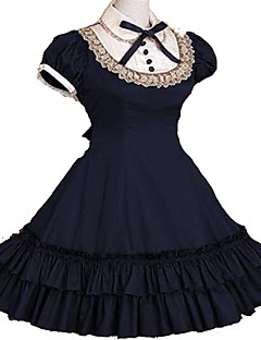 One-Piece Classic/Traditional Lolita Vintage Cosplay Short Sleeve Knee-length Cotton School Lolita Dress Red / Black / Pink / Gray / Ink Blue