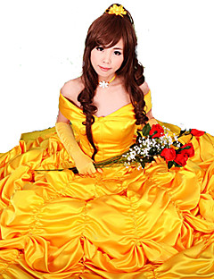 Cosplay Costumes Party Costume Princess Fairytale Festival/Holiday Halloween Costumes Yellow Solid Dress Gloves Halloween Carnival Female