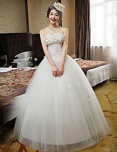 볼 드레스 웨딩 드레스 바닥 길이 스윗하트 레이스 / 새틴 / 튤 와 비즈 / 레이스