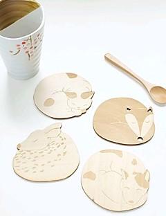 niedlichen Tier hohle Holz geschnitzt Schalenbecher Untersetzer Tischauflage Ladentheke Tee Kaffeetasse Matte (random)
