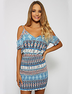 Women's Casual/Daily Boho Sheath Dress,Print Strap Above Knee Short Sleeve Blue Polyester Summer