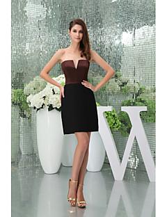 Cocktail Party Dress-Black Sheath/Column Strapless Short/Mini Stretch Satin