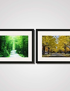 Framed the Green Boulevard and Yellow Trees Printed Canvas Art Set of 2 for Living Room Ready To Hang