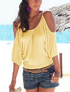Women's Casual/Daily Sexy Summer T-shirt,Solid Round Neck ½ Length Sleeve Yellow / Purple Cotton / Polyester Thin