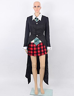 Inspired by SoulEater Maka Albarn Anime Cosplay Costumes Cosplay Suits Solid Black / Red Long Sleeve Cloak / Shirt / Skirt / Tie