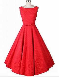 Women's Going out / Party Simple A Line / Skater Dress,Jacquard Round Neck Knee-length Sleeveless Red / White Cotton / Others