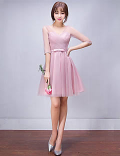Short / Mini Tulle Bridesmaid Dress A-line V-neck with Side Draping