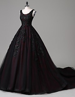 Formal Evening Dress - Vintage Inspired A-line Scoop Cathedral Train Lace Tulle with Appliques Beading Lace Pearl Detailing