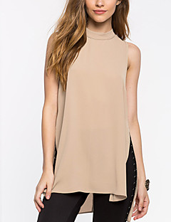 Women's Solid Red / Beige Blouse,Stand Sleeveless