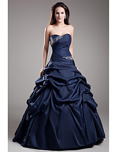 Formal Evening Dress Ball Gown Strapless Floor-length Taffeta with Beading / Side Draping