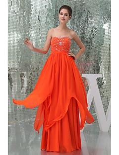 A-linje Sweetheart-Gulvlang Chiffon Brudepigekjole Orange