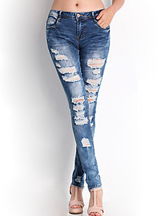 Women's Print Blue Jeans / Skinny Pants,Simple