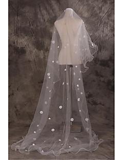 Voiles cathédrale(Beige,Tulle,Applique / Motif floral perlé & dispersé / Broderie / Sequin)Voile baissant-Bord coupé