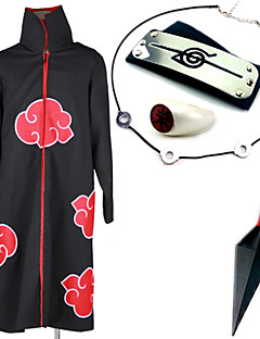 Inspirert av Naruto Itachi Uchiha Anime Cosplay Kostumer Cosplay Suits / Mer Tilbehør Trykt mønster Svart Kappe / Mer Tilbehør