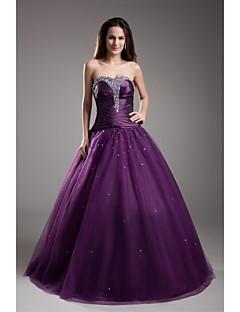 ts couture® שמלת הערב רשמי סטרפלס כדור שמלה באורך רצפת טפטה / טול עם חרוזים