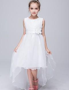 A-line Asymmetrical Flower Girl Dress - Organza / Satin Sleeveless Jewel with