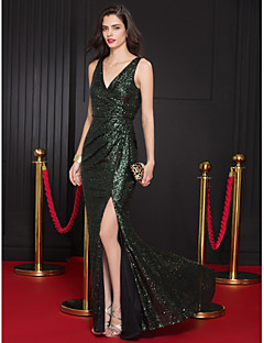 TS Couture Prom Formal Evening Dress - Sparkle & Shine Trumpet / Mermaid V-neck Sweep / Brush Train Sequined with Sequins