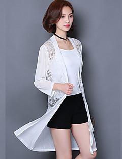 Women's Solid White / Black Blazer,Simple V Neck ¾ Sleeve