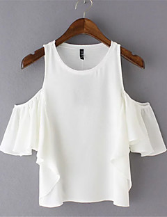 Women's Casual/Daily Street chic Summer Blouse,Solid Round Neck Short Sleeve White Polyester Thin