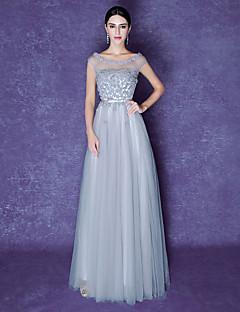 Serata formale Vestito Linea-A Stondata Lungo Tulle con Fiore (i) / Dettagli con perline