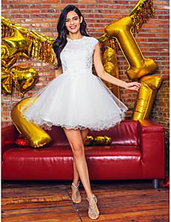 Plesové šaty Klenot Krátký / Mini Tyl Koktejlový večírek Promoce Šaty s Korálky Aplikace Krajka podle TS Couture®