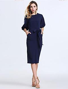 Robe Soirée / Cocktail / Grandes TaillesCouleur Pleine Col Arrondi Midi Manches ¾ Bleu Acrylique / Polyester Eté Micro-élastique Fin