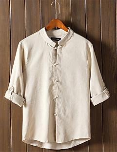 Мужской Однотонный Рубашка На каждый день / Для офиса / Для торжеств и мероприятий,Лён,Длинный рукав,Синий / Зеленый / Бежевый / Серый