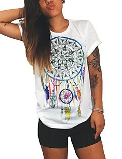 Blommig Kortärmad T-shirt Kvinnors Rund hals Bomull / Polyester
