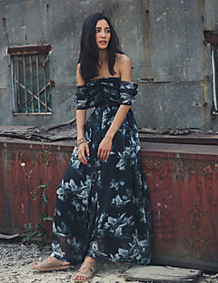 SINCE THEN SIN CE THEN Women's Sexy / Boho Floral Swing Dress,Strapless Maxi Polyester
