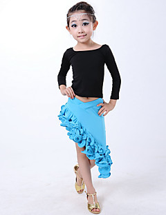 Latin Dance Dresses Children's Performance Milk Fiber Pleated 2 Pieces Blue / Fuchsia / Red