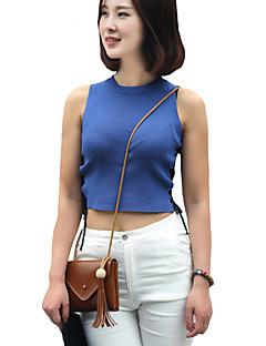 Vrouwen Sexy / Street chic Zomer T-shirt,Casual/Dagelijks Effen Ronde hals Mouwloos Blauw / Wit / Zwart Katoen / Rayon Dun