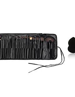 24pcs makeup børster tre håndtak blush / foundation / pudder / shadow / liner børste kosmetisk kit og lite makeup svamp